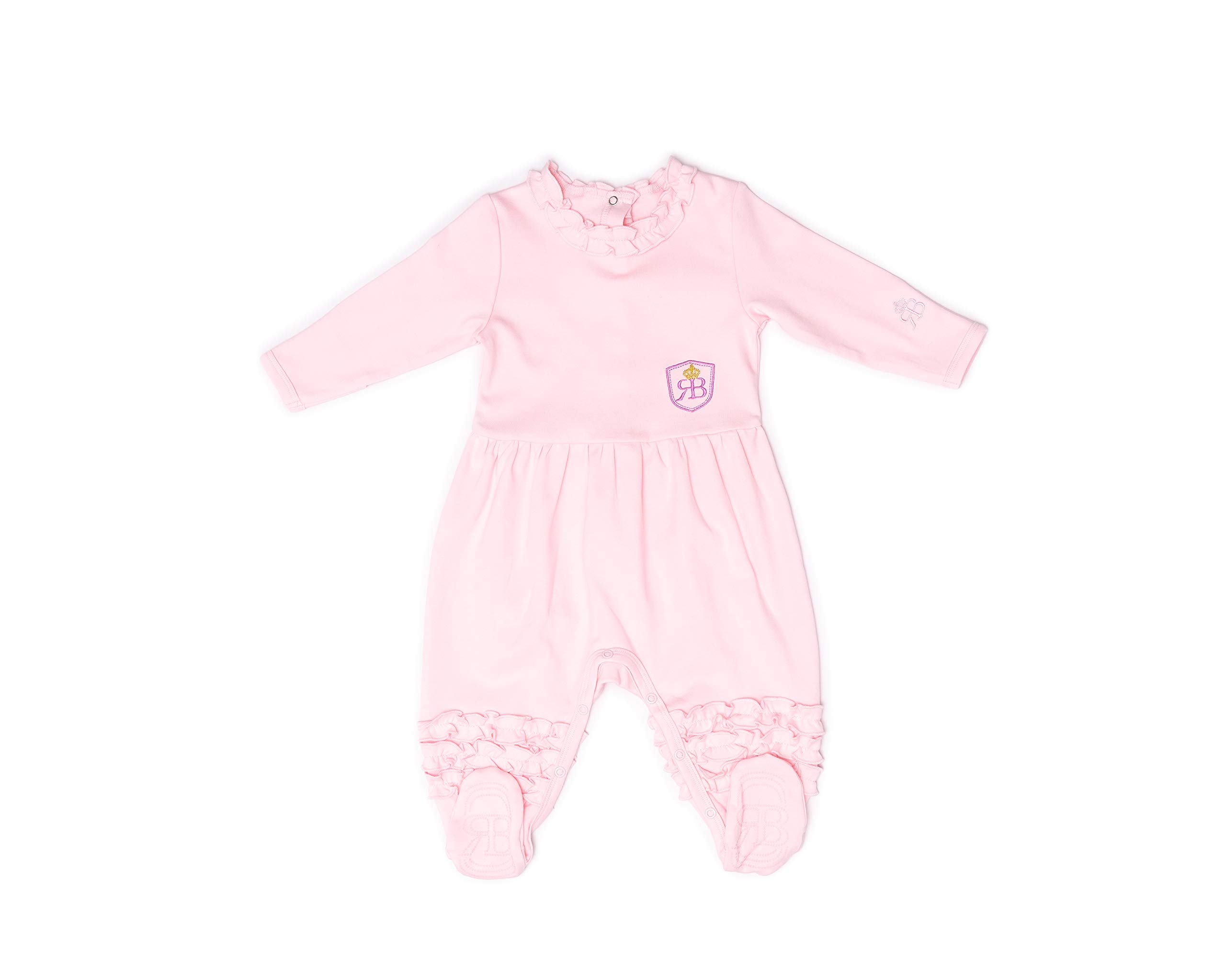 RB Royal Baby Organic Cotton Gloved-Sleeve Footed Overall, Footie (Little Ballerina) Pink