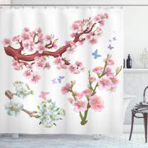"""Ambesonne Floral Shower Curtain, Composition Flowering Branches Colorful Spring Garden Theme Seasonal Art Print, Cloth Fabric Bathroom Decor Set with Hooks, 75"""" Long, Pink Brown"""