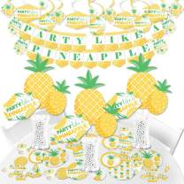 Big Dot of Happiness Tropical Pineapple - Summer Party Supplies - Banner Decoration Kit - Fundle Bundle