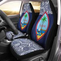 VTH Global Polynesian Guamanian Coat of Arms Guam Flag Car Seat Covers Set of 2 Size Universal Fit