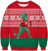 FLYCHEN Men Christmas Round Neck Sweatshirt 3D Printed Cosplay Funny Ugly Long Sleeve Sweater