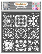 CrafTreat Tile Stencils for Painting on Wood, Canvas, Paper, Fabric, Floor, Wall and Tile - Mini Tiles - 6x6 Inches - Reusable DIY Art and Craft Stencils - Floor Tile Stencil - Mandala Tile Stencil