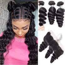 10A Braizlian Virgin Loose Wave Bundles with Frontal Closure Loose Wave Lace Frontal with Baby Hair Pre Plucked 100% Human Hair Extensions Remy Hair Natural Color for Black Women(16 18 20+14)