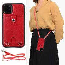 DEFBSC iPhone 11 Pro Crossbody Wallet Case,Premium Leather Case with Detachable Adjustable Crossbody Strap and Credit Card Slots for iPhone 11 Pro 5.8 Inch-Red