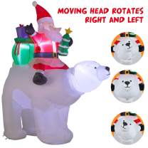 YIHONG 7 Ft Christmas Inflatables Santa Clause Riding The Polar Bear with Moving Head Decorations - Blow up Party Decor for Indoor Outdoor Yard with LED Lights