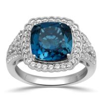 Jewelili Sterling Silver 10mm Cushion in Option of Amethyst or Created London Blue Topaz with Round White Topaz with 1.5mm Emerald Stone on Both Side Halo Ring