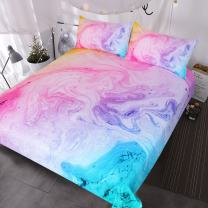 BlessLiving Colorful Marble Bedding Pastel Pink Blue Purple Duvet Cover Set Marble Abstract Art Bed Set 3 Piece Bright Girly Bedspreads (King)