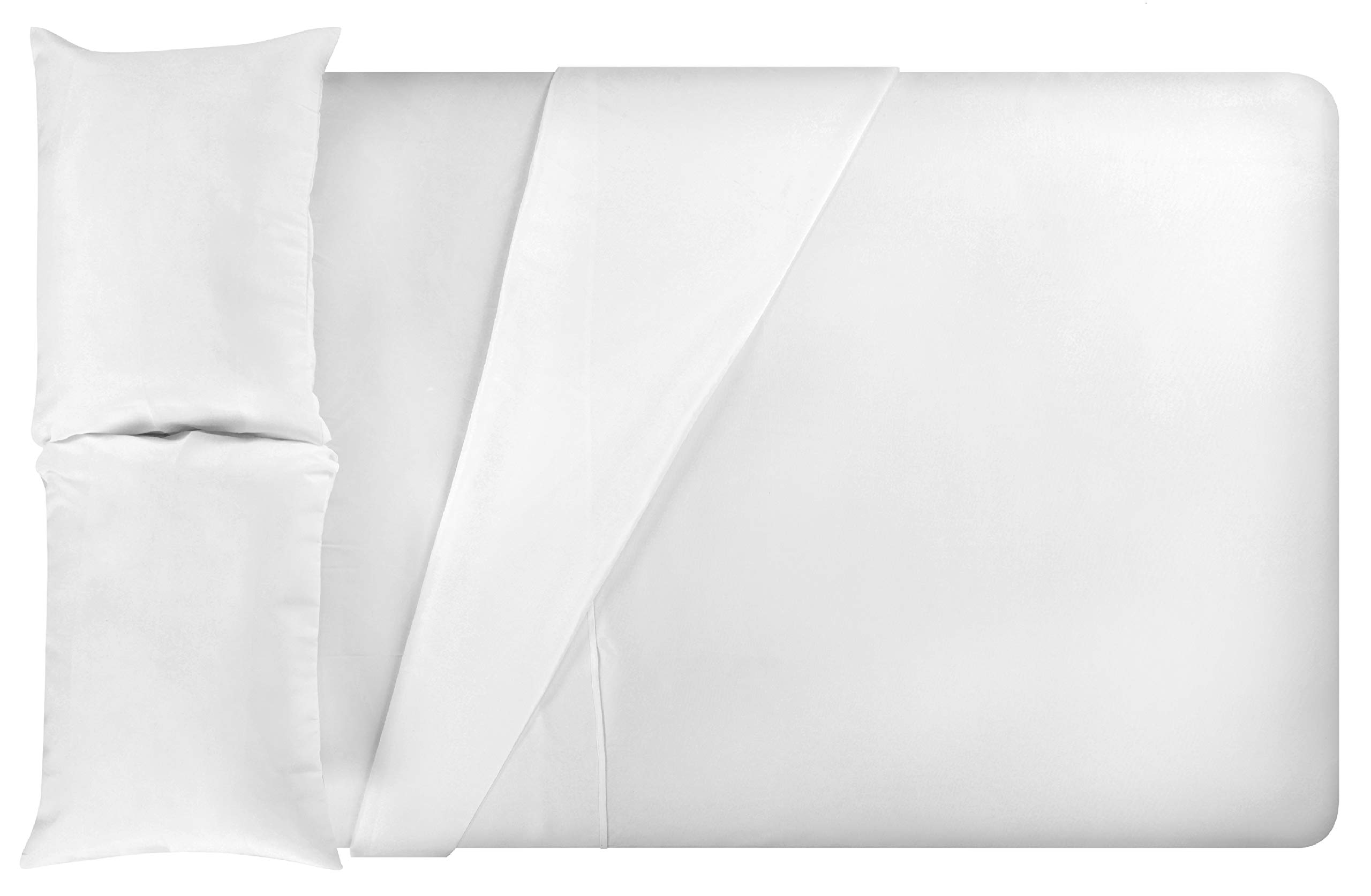 LuxClub 4 PC Microfiber and Bamboo Sheet Set: Bamboo Bedding Sheets with Microfiber - Softer and More Breathable Than Cotton - Machine Washable, White, Twin
