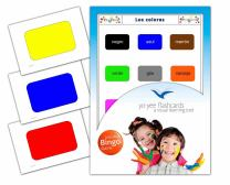 Colours Flashcards in Spanish Language - Flash Cards with Matching Bingo Game for Toddlers, Kids, Children and Adults - Size 4.13 × 5.83 in - DIN A6