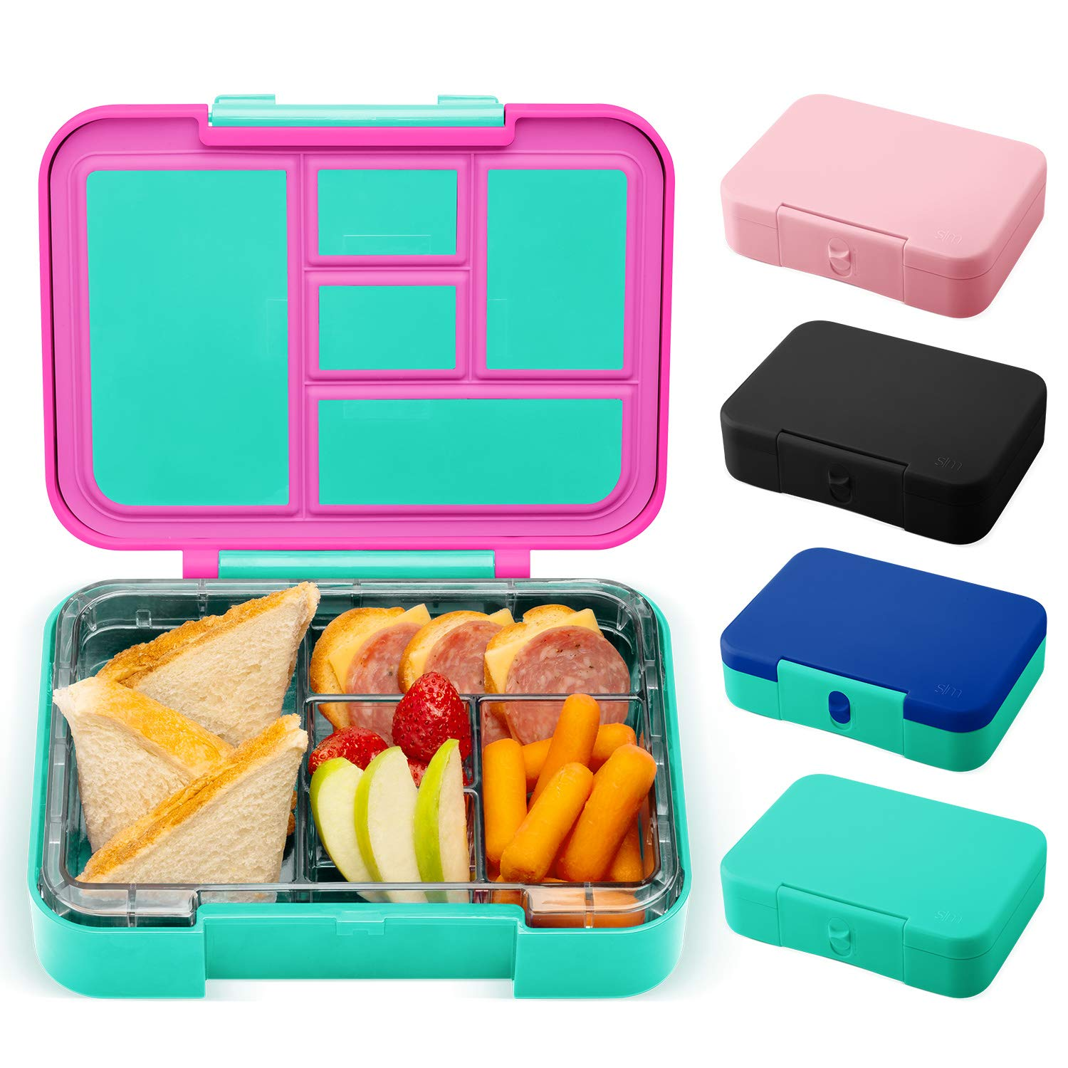 Simple Modern Porter Bento Lunch Box for Kids - Leakproof Divided Pink Container with 5 compartments for Toddlers, Adults, Men, and Women Color Blocked: Sorbet