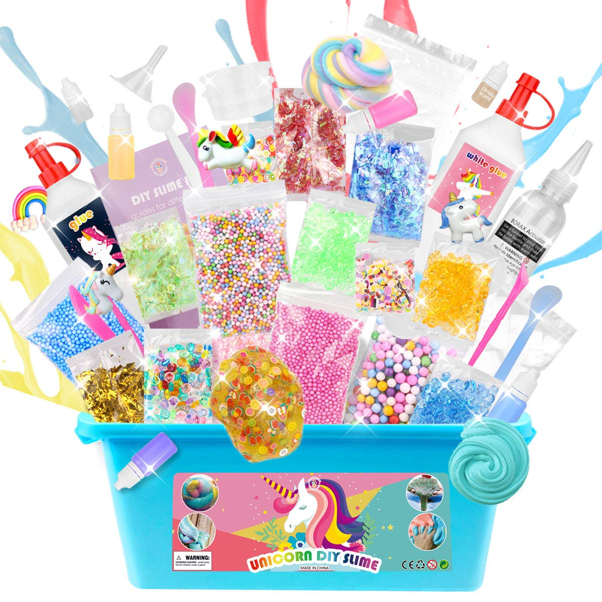 ESSENSON DIY Unicorn Slime Kit for Girls Boys - 2 in 1 Slime Supplies [53 Pieces Set in One Box] Make Your Own Clear Slime, Cloud, Glitter and Foam Slime Age 6+ Year Old Girl Gifts Kids Art Craft