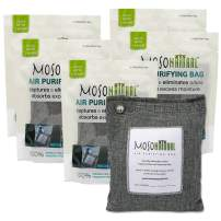 MOSO NATURAL: The Original Air Purifying Bag. Fragrance Free, Chemical Free, Long Lasting, Moisture Absorbing Odor Eliminator. for Cars, Closets, Bathrooms, Pet Areas. Five 200g Charcoal Color Bags