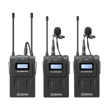 Dual Wireless Lavalier Microphone Camera, BOYA Dual-Channel System 2 Transmitter & 1 Receiver for DSLR Camera Recorder YouTube Street Interview Facebook Livesteam Vblog