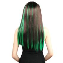 Neitsi 10pcs 18inch Colored Highlight Synthetic Clip on in Hair Extensions #F13 Green