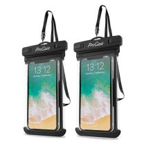 """Procase Universal Waterproof Case Cellphone Dry Bag Pouch for iPhone 11 Pro Max Xs Max XR XS X 8 7 6S Plus SE 2020, Galaxy S20 Ultra S10 S9 S8 +/Note 10+ 9, Pixel 4 XL up to 6.9"""" - 2 Pack, Black"""