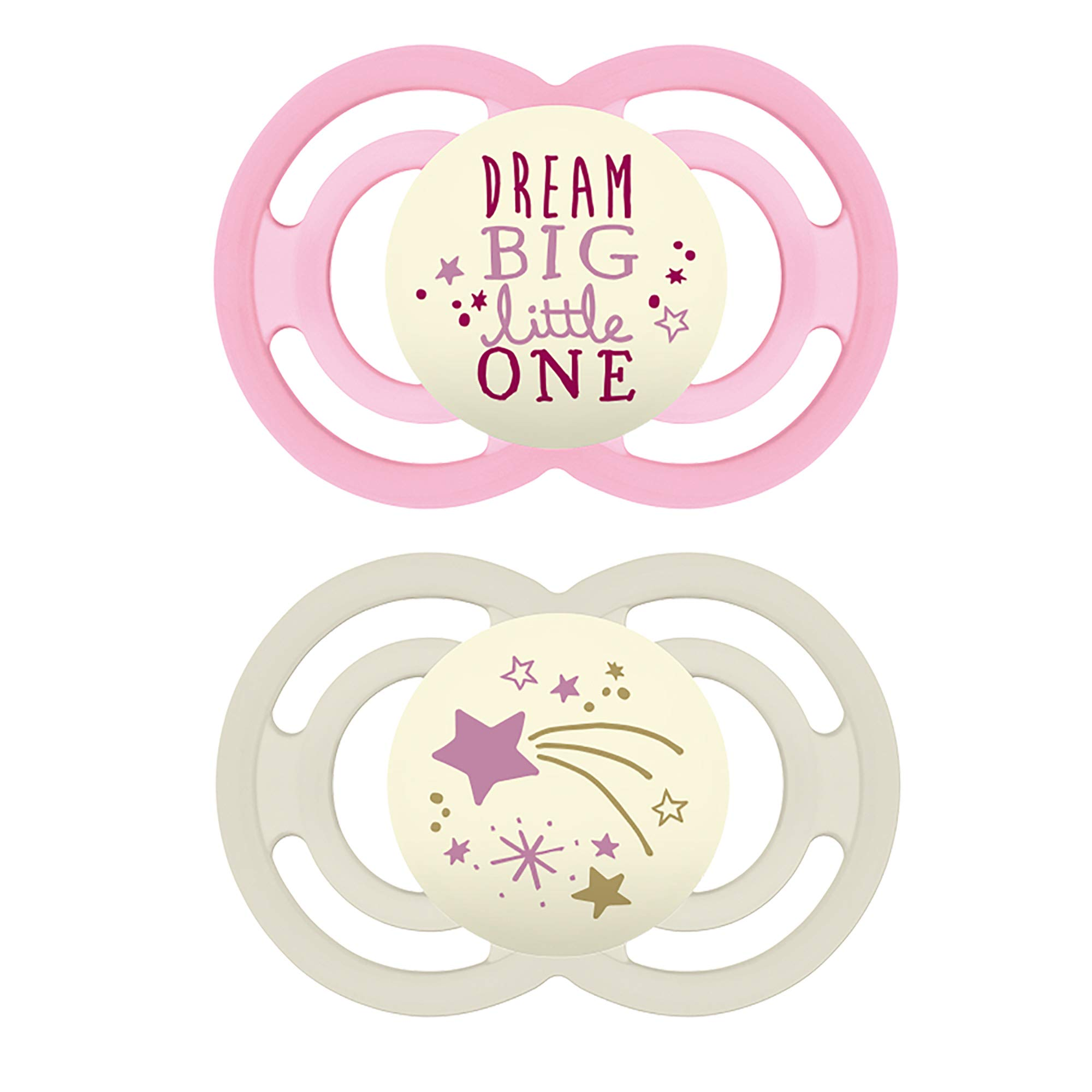 MAM Perfect Night Pacifiers, Glow in the Dark Pacifiers (2 pack) MAM Pacifiers 6 Plus Months, Best Pacifier for Breastfed Babies, Baby Girl Pacifier, Designs May Vary