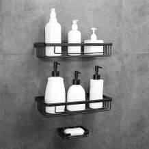 Hoomtaook Adhesive Bathroom Organizer Shower Caddy Kitchen Spice Rack Wall Mounted Drill-Free Bathroom Shelf Storage Kitchen Rack Rustproof Shower Shelf
