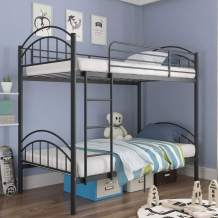 mecor Twin Over Twin Bunk Bed, Convertible Into 2 Individual Metal Twin Bed Frame for Boys, Girls, Kids, Teens - Removable Ladder & Safety Guard Rail - Black