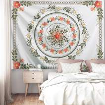 "PROCIDA Mandala Tapestry Floral Flower Medallion Tapestry Pink Bohemian Art Beach Blanket Table Clothe for Dorm Bedroom Living Room College Nails Included 60"" W x 51"" H, Flower Mandala"