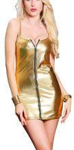Rozegaga Women Sexy Zipped Up Faux Leather Mini Club Party Dress Lingerie