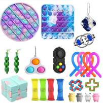 Komoo 28 Pcs Sensory Toys Pack Among Us Simple Dimple Figetget Toys Push Pop Bubbles Fidget Sensory Toy Autism Special Needs Stress Reliever Squeeze Toy (C)