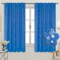 BGment Rod Pocket and Back Tab Blackout Curtains for Kids Bedroom - Sparkly Star Printed Thermal Insulated Room Darkening Curtain for Nursery, 42 x 63 Inch, 2 Panels, Blue