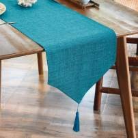 BALCONY & FALCON Linen Table Runner Washable Waterproof Table Runners Wipeable Home Decoration Tablecover for Dining Room Kitchen - Blue 35x300