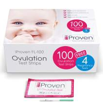 iProven OPK - Ovulation Test Kit - 100 Ovulation Strips - The Reliable Fertility Test for Women - Easy Dip and Read Test Strips - 4 Free Pregnancy Tests Included - FL-100