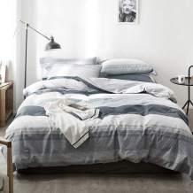 【Latest Arrival】Comforter Duvet Cover Queen Cotton Stripe Duvet Cover Natural Geometric Comforter Cover Full Grey White Modern Home Bedding Set with Ties for Girls Boys Kids,NO Comforter NO Sheet