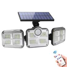 Solar Lights Outdoor,Solar Motion Sensor Lights with 122 LEDs,Solar Security Lights 3 Adjustable Heads,LED Flood Lights 270°Wide Angle,IP65 Waterproof Solar Powered Wall Lights with Remote Control