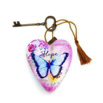 DEMDACO Hope Blue Butterfly 4 x 3 Heart Shaped Resin Keepsake Decoration