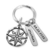 MyNameNecklace Personalized Compass Keychain with Two Engraved Bars- Engraved Personalized Gifts