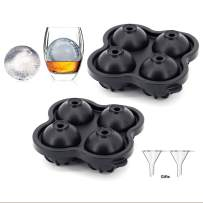 Sphere Ice Ball Mold Tray for Bourbon Whiskey, Novelty Large Round Ice cubes maker with Funnels for Cocktail, Scotch, Drinks, Easy Release Flexible Reusable Silicone, Set of 2