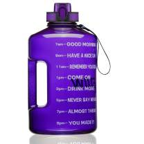 ETDW Gallon Water Bottle with Time Marker, BPA Free 128oz/74oz Leak Proof Big Water Jug with Handle Huge Sports Water Bottle for Gym Camping Daily Water Intake