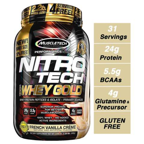 Chocolate 100/% Whey Protein Powder MuscleTech NitroTech Whey Gold 5.5 LBS