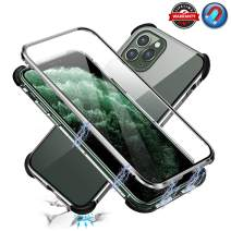 """Shockproof Magnetic Phone Case for iPhone 11 Pro, Double-Sided Clear Tempered Glass with Metal Bumper Frame, Ultra Thin Lightweight Anti-Drop Protector Magnetic Cover Case for iPhone 11 Pro 5.8"""""""