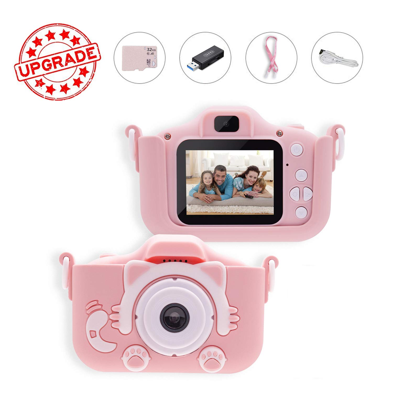 Kids Camera, BZ Digital Video Camera for Girls, Toddlers, Toy, and Girls, Age 3 4 5 6 7 8 9 10 with 32GB SD Card(Pink)