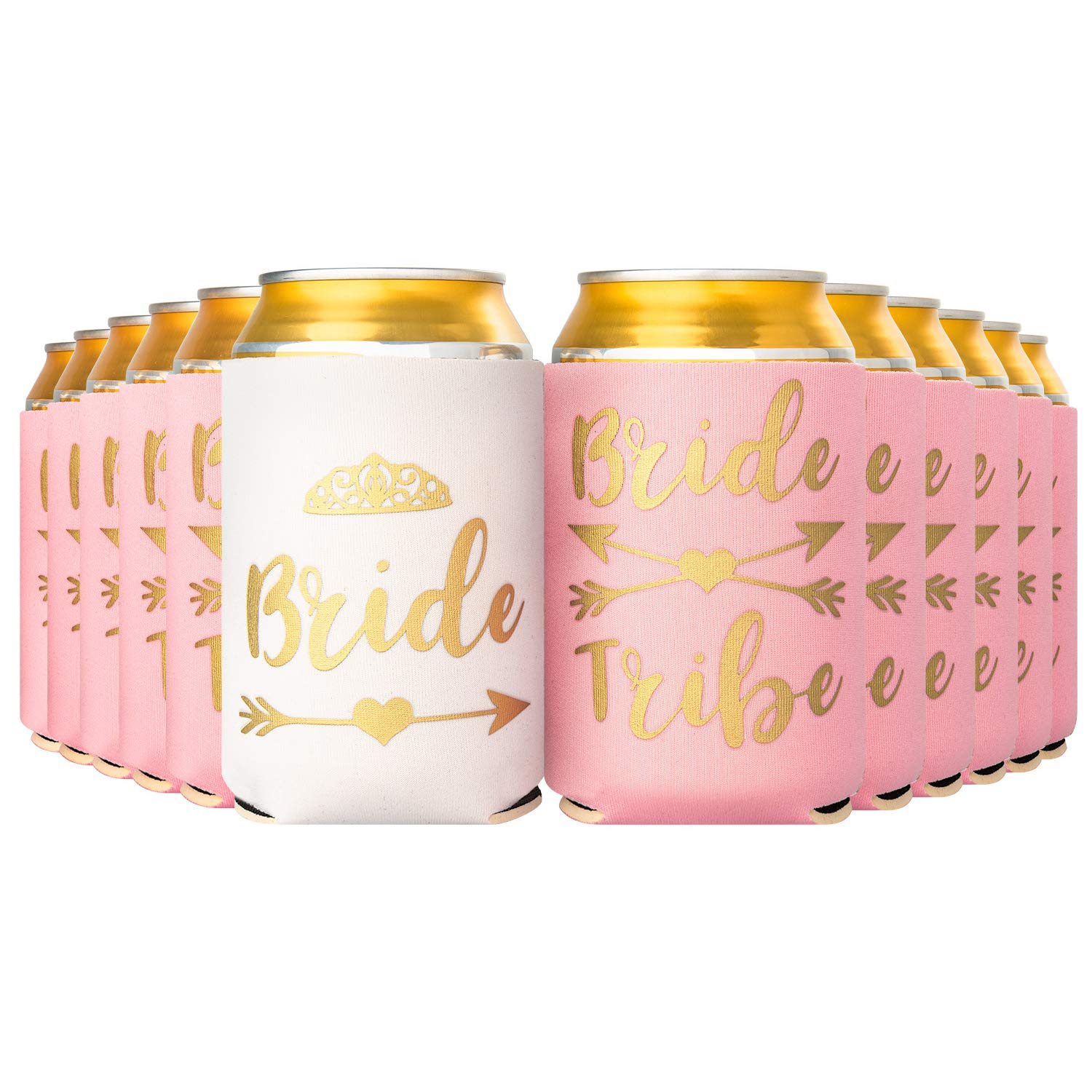 Crisky Bride Tribe, Team Bride Can Coolers, Bridal Shower Bachelorette Party Can Cooler Decorations, 12-Ounce Neoprene Coolers for Soda, Beer, Can Beverage, 1 Pcs White with 11 Pcs Pink