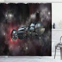 "Ambesonne Galaxy Shower Curtain, Spaceship in Interstellar Travel on a Galactic Starfield Alien Fantasy Science Fiction, Cloth Fabric Bathroom Decor Set with Hooks, 70"" Long, Black"