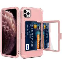 Vofolen for iPhone 11 Pro Max Case Wallet Card Holder Slot Heavy Duty Full-Body Protection Hybrid Bumper Armor Protective Hard Shell Makeup Mirror Back Pocket Front Bumper for iPhone 11 6.5 Rose Gold