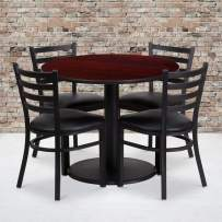 Flash Furniture 36'' Round Mahogany Laminate Table Set with Round Base and 4 Ladder Back Metal Chairs - Black Vinyl Seat
