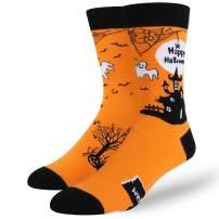 Men's Novelty Funny Christmas Halloween Pumpkin Crazy Fun Weird Crew Socks