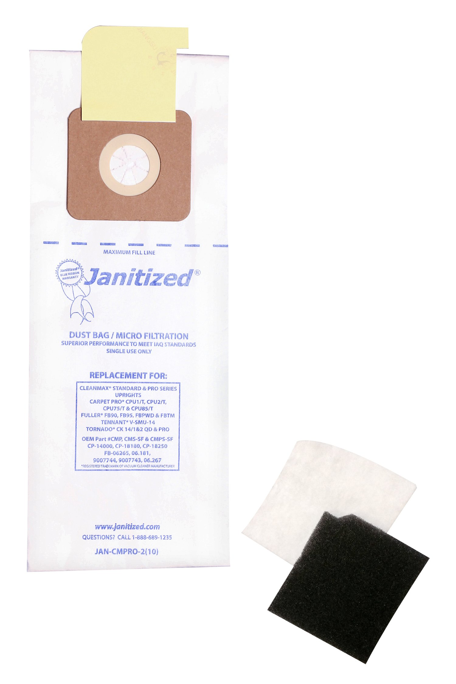 Janitized JAN-CMPRO-2(10) Premium Replacement Commercial Vacuum Paper Bag for CleanMax Pro, Tennant V-SMU-14, Tornado CK 14, Carpet Pro CPU, OEM #CMP, CMS, CMPS, 06.267 (Pack of 10)