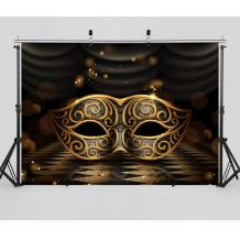 SJOLOON 7X5ft Mardi Gras Backdrop Carnival Masquerade Backdrop Glossy Golden Mask Backdrop Dark Retro Floor Stage Background for Party Decoration Mardi Gras 11080