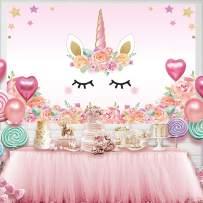 Allenjoy 5x3ft Photography Unicorn Birthday Photo Backdrop Party Supplies Sweet Pink Girls Baby Shower Decorations Background Newborn Child Pastel Color Photo Portrait Studio Dessert Table