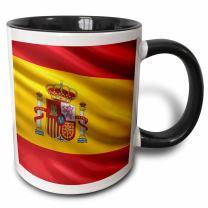 3dRose Flag Of Spain Two Tone Mug, 11 oz, Black