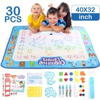 LotFancy Aqua Magic Doodle Mat, Updated 40 x 32-inch Extra Large Water Drawing Mat with 29 Accessories, No Mess Educational Toys Gift for Girls Toddlers Age 5 6 7 8 9-Year-Old