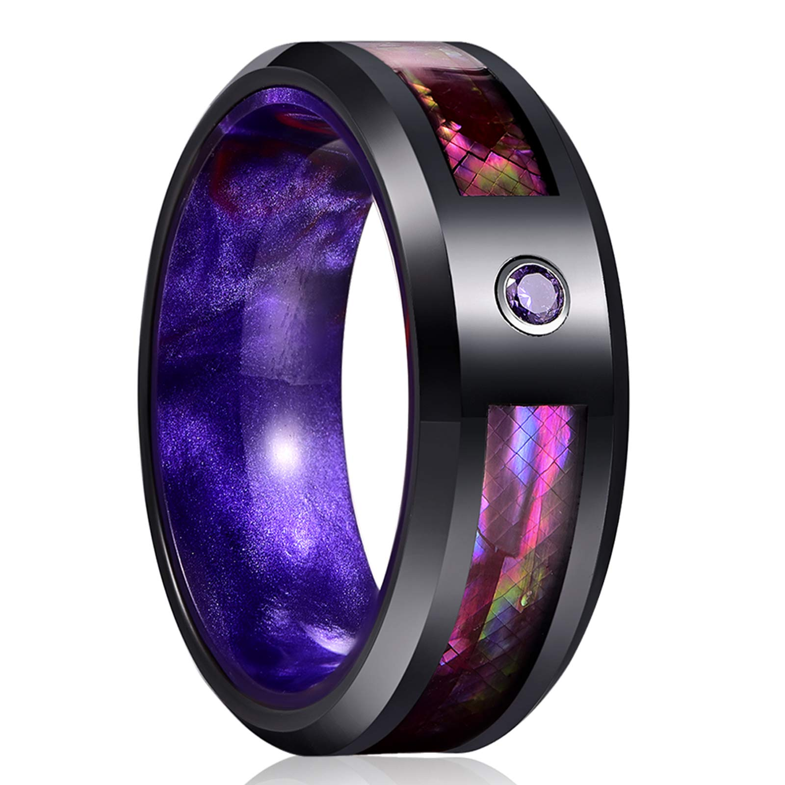 CHALAIR 8mm Black Purple Tungsten Carbide Band Rings for Men Women Resin Zircon Abalone Shell Paper Inlay Wedding Promise Band Comfort Fit Size 7-12