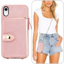 LAMEEKU iPhone XR Wallet Case, iPhone XR Crossbody Wallet Case with Card Slots Leather Card Holder Case Zipper Purse Case with Wrist Strap Bumper Case Compatible with iPhone XR, 6.1 Inch-Rose Gold …