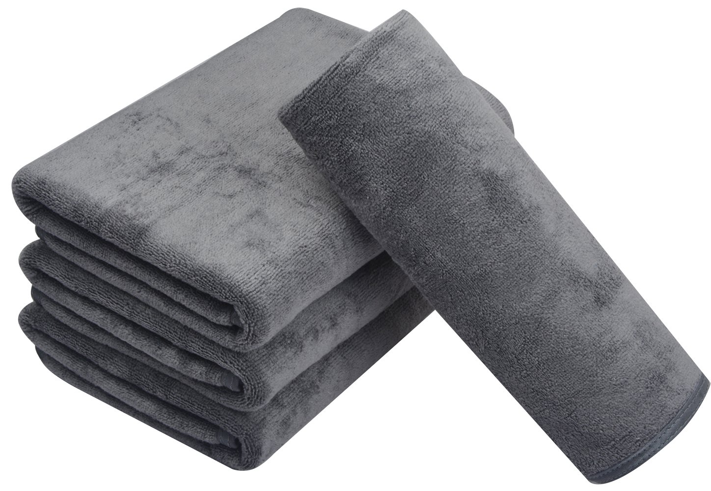 KinHwa Microfiber Hand Towels for Bathroom - Soft and Light-Weight Face Towels Odor Free Wash Towels for Bath, Spa, Gym (Gray, 4)